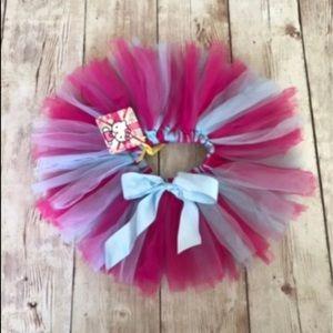 baby girl tutu skirt tulle pom pom bow pink blue